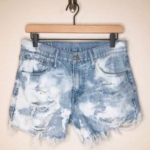 Levi's 511 Cutoff Distressed Bleached Shorts